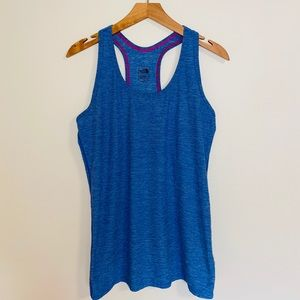 {The North Face} heather blue with pink tank